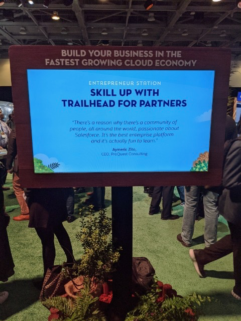 Quote from our CEO Aymeric Zito displayed at Dreamforce '19